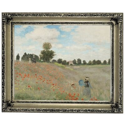 'Poppy Fields' by Claude Monet Framed Graphic Art Print on Canvas Size: 14