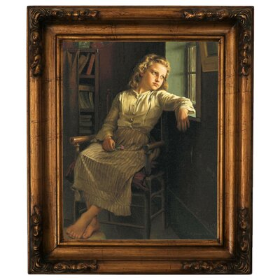 'Girl at the Window 1890' Framed Graphic Art Print on Canvas Size: 19.25