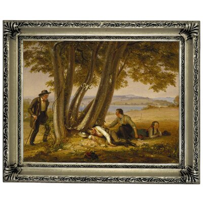 'Boys Caught Napping in a Field 1848' Framed Graphic Art Print on Canvas Size: 14