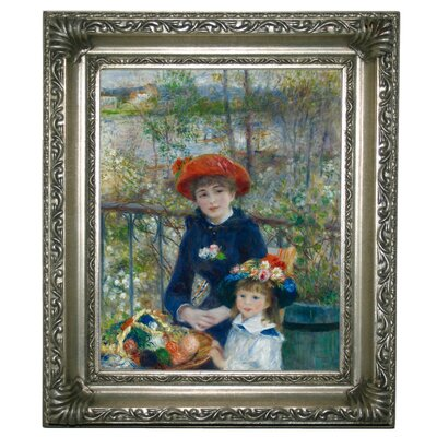 'Two Sisters on the Terrace 1881' by Pierre-Auguste Renoir Framed Graphic Art Print on Canvas Size: 13