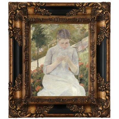'Girl in the Garden' by Mary Cassatt Framed Canvas Print Size: 15.25