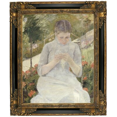 'Girl in the Garden' by Mary Cassatt Framed Canvas Print Size: 25.25