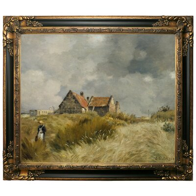 'Cottage in the Dunes' Framed Graphic Art Print on Canvas Size: 25.25