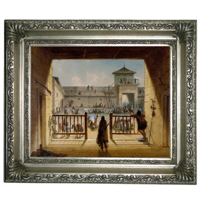 'Interior of Fort Laramie 1858' Framed Graphic Art Print on Canvas Format: Silver Frame, Size: 11