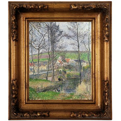 'The Banks of the Viosne at Osny in Gray Weather, Winter 1883' by Camille Pissarro Framed Graphic Art Print on Canvas Size: 14.5