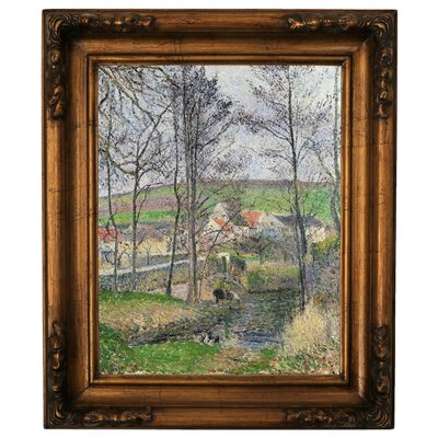 'The Banks of the Viosne at Osny in Gray Weather, Winter 1883' by Camille Pissarro Framed Graphic Art Print on Canvas Size: 19.5