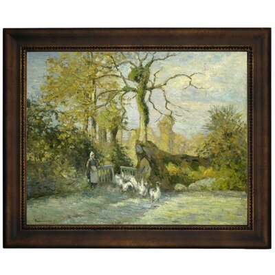 'The Goose Girl at Montfoucault White Frost 1875' by Camille Pissarro Framed Graphic Art Print on Canvas Size: 10.75