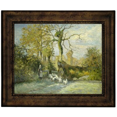 'The Goose Girl at Montfoucault White Frost 1875' by Camille Pissarro Framed Graphic Art Print on Canvas Size: 13.75