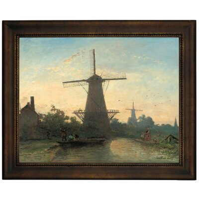 'Mills Near Rotterdam 1857' Framed Graphic Art Print on Canvas Size: 13.75