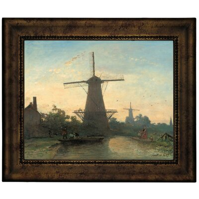 'Mills Near Rotterdam 1857' Framed Graphic Art Print on Canvas Size: 10.75
