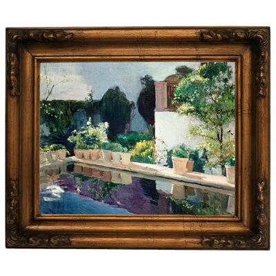 'Palace of Pond, Royal Gardens in Seville 1910' Framed Graphic Art Print on Canvas Size: 15.5