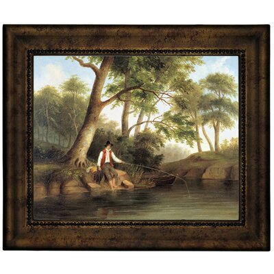 'Man Fishing 1848' Framed Graphic Art Print on Canvas Size: 10.75