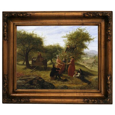 'Apple Gathering 1856' Framed Graphic Art Print on Canvas Size: 15.5