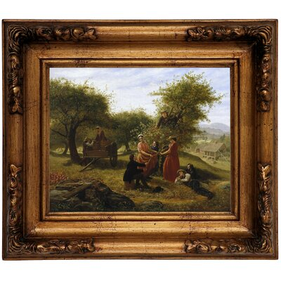 'Apple Gathering 1856' Framed Graphic Art Print on Canvas Size: 12.5