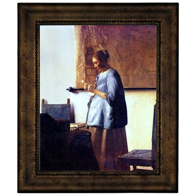 'Women in Blue Reading a Letter' by Johannes Vermeer Framed Graphic Art Print on Canvas Format: Bronze Frame, Size: 12.75