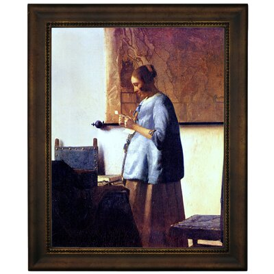 'Women in Blue Reading a Letter' by Johannes Vermeer Framed Graphic Art Print on Canvas Format: Bronze Frame, Size: 16.75