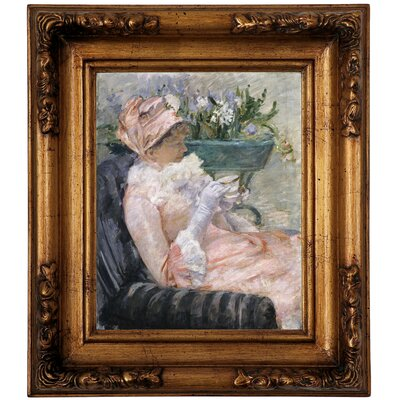 'The Cup of Tea 1880' by Mary Cassatt Framed Graphic Art Print on Canvas Size: 14.5