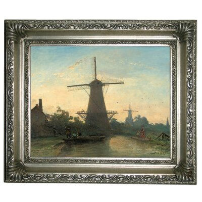 'Mills near Rotterdam 1857' Framed Graphic Art Print on Canvas Size: 11