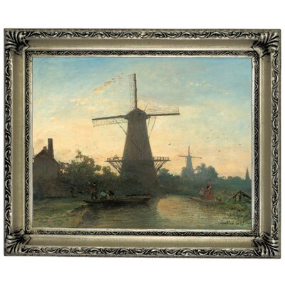 'Mills near Rotterdam 1857' Framed Graphic Art Print on Canvas Size: 14