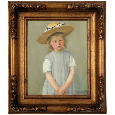 'Child in a Straw Hat 1886' by Mary Cassatt Framed Graphic Art Print on Canvas Size: 14.5