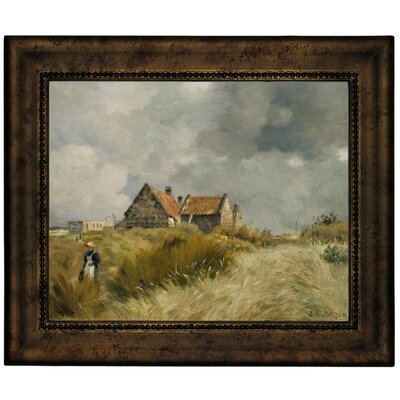 'Cottage in the Dunes' Framed Graphic Art Print on Canvas Size: 10.75