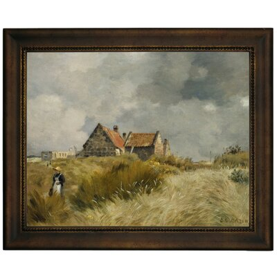 'Cottage in the Dunes' Framed Graphic Art Print on Canvas Size: 13.75
