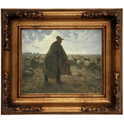 'Shepherd Tending His Flock' Graphic Art Print on Canvas Size: 12.5