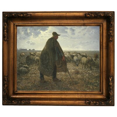 'Shepherd Tending His Flock' Graphic Art Print on Canvas Size: 15.5
