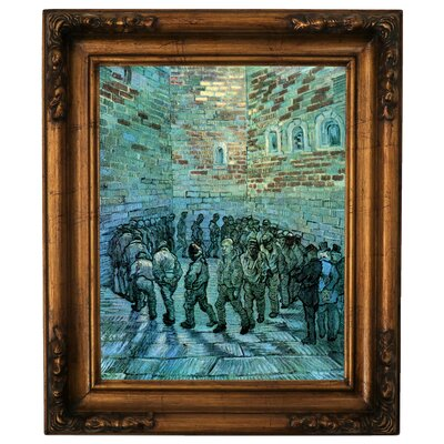 'Prisoners Exercising After Dore' by Vincent Van Gogh Framed Graphic Art Print on Canvas Size: 19.5