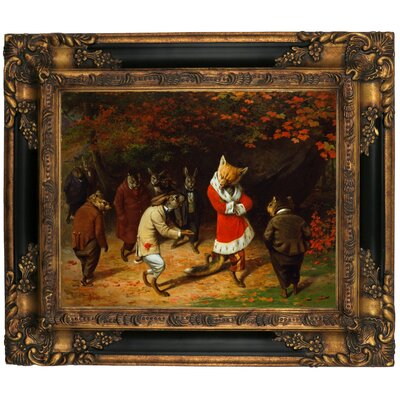 'His Majesty Receives 1885 Fox and Rabbits' Framed Graphic Art Print on Canvas Format: Gold/Black Frame, Size: 13.25