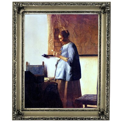 'Women in Blue Reading a Letter' by Johannes Vermeer Framed Graphic Art Print on Canvas Format: Silver Frame, Size: 17