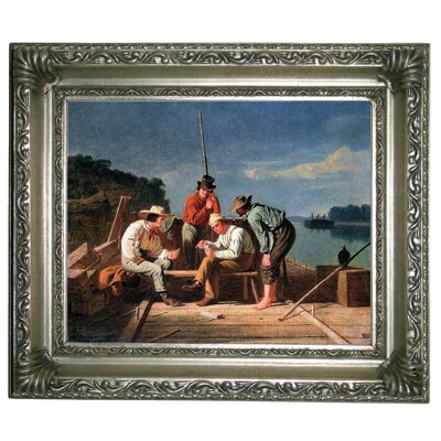 'In a Quandary or Mississippi Raftsmen at Cards 1851' Framed Graphic Art Print on Canvas Size: 10.75