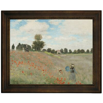 'Poppy Fields' by Claude Monet Framed Graphic Art Print on Canvas Size: 13.75