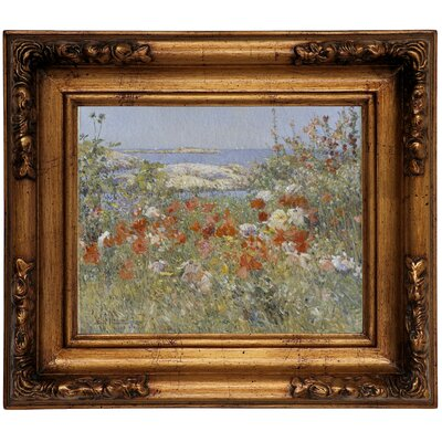 'Celia Thaxters Garden, Isles of Shoals, Maine, 1890' Framed Oil Painting Print on Canvas Size: 12.5