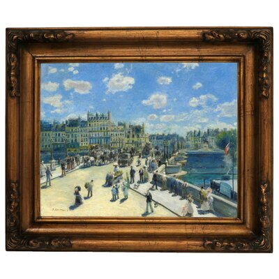 'Pont Neuf, Paris 1872' by Pierre-Auguste Renoir Framed Graphic Art Print on Canvas Size: 15.5