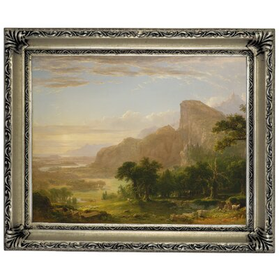 'Landscape Scene from Thanatopsis 1850' Framed Graphic Art Print on Canvas Format: Silver Frame, Size: 11