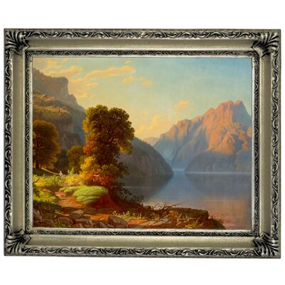 'A View of a Lake in the Mountains' Framed Graphic Art Print on Canvas Size: 14