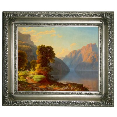 'A View of a Lake in the Mountains' Framed Graphic Art Print on Canvas Size: 11