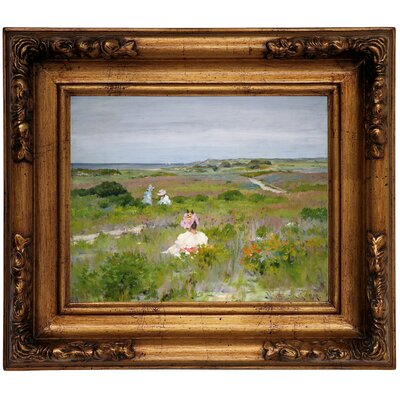 'Landscape Shinnecock Long Island 1896' Framed Graphic Art Print on Canvas Format: Gold Frame, Size: 12.5
