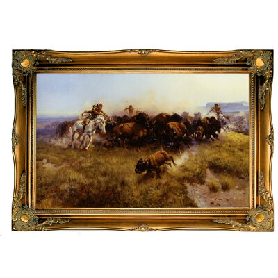 'Buffalo Hunt No.39' Framed Graphic Art Print on Canvas