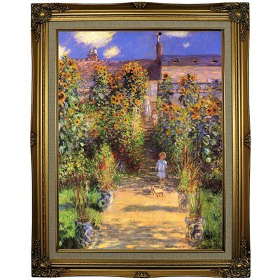 'Monets Garden in Vetheuil' by Claude Monet Framed Oil Painting Print on Canvas Format: Gold Framed, Size: 29.25