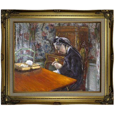 'Mademoiselle Boissiere Knitting 1877' Framed Oil Painting Print on Canvas Format: Antique Gold Framed, Size: 21.25