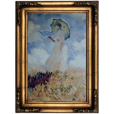 'Lady with umbrella' by Claude Monet Framed Oil Painting Print on Canvas Format: Bronze Framed, Size: 22.5