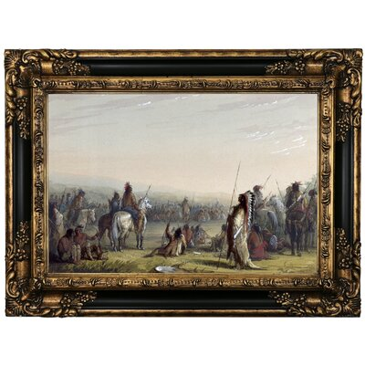 'Indian Council 1858' Framed Oil Painting Print on Canvas Format: Black Framed, Size: 17.25