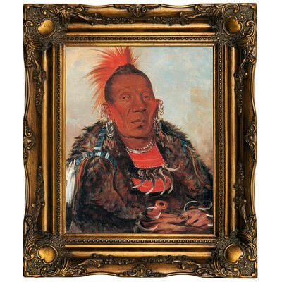 'Wah-ro-noe-sah, the Surrounder, Chief of the Tribe 1832' Framed Oil Painting Print on Canvas Format: Dark Brown Framed, Size: 19.5'' H x 16.5'' W x 2'' D