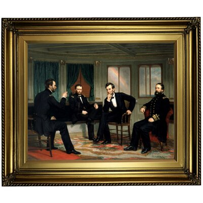 'The Peacemakers 1868 Sherman, Grant, Lincoln and Porter aboard the River Queen March 1865' Framed Oil Painting Print on Canvas in Gold ARGD4860 43590170