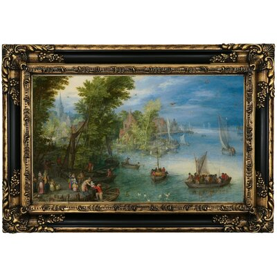 'River Landscape ' Framed Oil Painting Print on Canvas Format: Brown Framed, Size: 17.25