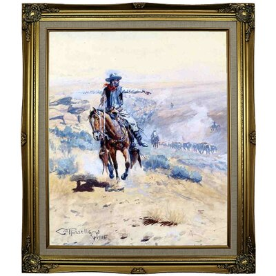 'Pointing Out the Trail' Framed Oil Painting Print on Canvas Format: Black Gold Framed, Size: 29.25