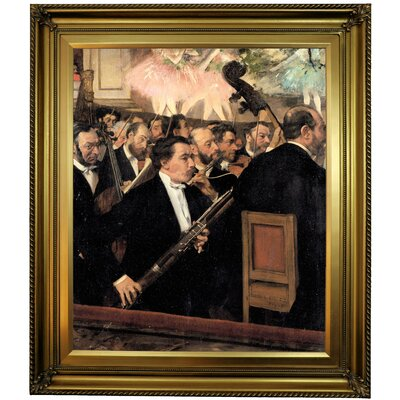 'The Orchestra at the Opera 1870' by Edgar Degas Framed Oil Painting Print on Canvas in Gold Format: Gold Framed, Size: 30