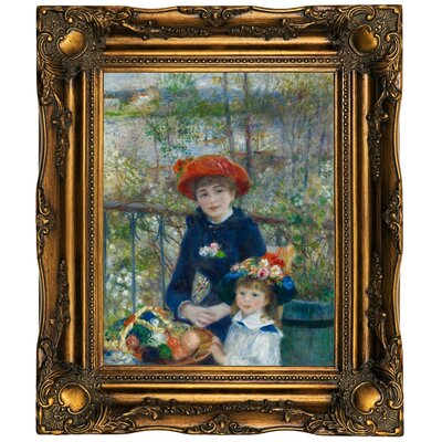'Two Sisters (On the Terrace) 1881' by Pierre-Auguste Renoir Framed Oil Painting Print on Cavas Format: Dark Gold Framed, Size: 19.5